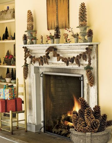 fireplace decorated with pinecones Crafts and Simple Projects DIY Projects & Crafts