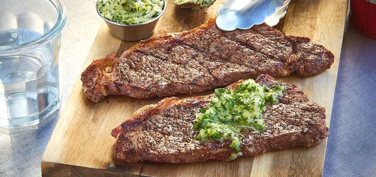 Grilled New York Steak with Lemon-Herb Butter