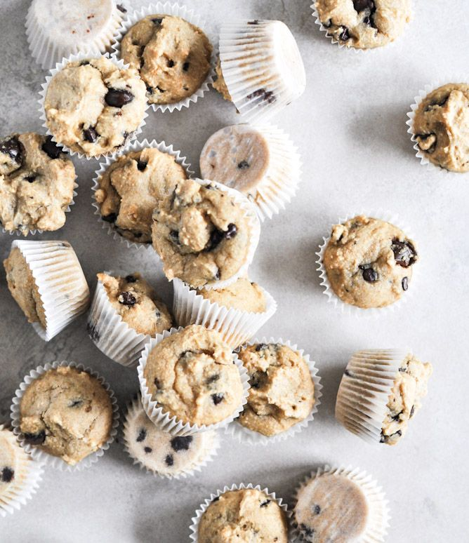 Mini whole wheat chocolate chip muffins.