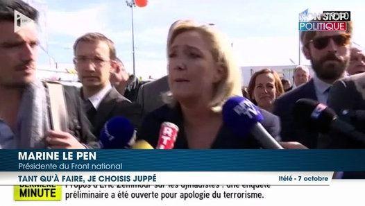 En marge de son déplacement au Sommet de l'Élevage, Marine Le Pen a laissé entendre qu'elle préférerait affronter Alain Juppé plutôt que Nicolas Sarkozy au second tour de l'élection présidentielle. En souhaitant la victoire du maire de Bordeaux à la primaire de la droite et du centre, la candidate frontiste fait peut-être un pari risqué. http://www.non-stop-politique.fr/actu/presidentielle-2017/marine-pen-souhaite-voir-alain-juppe-remporter-primaire-face-a-nicolas