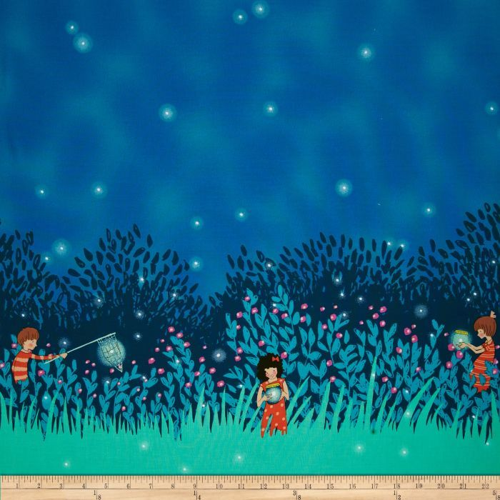 Michael Miller Wee Wander Summer Night Lights Double Border Twilight
