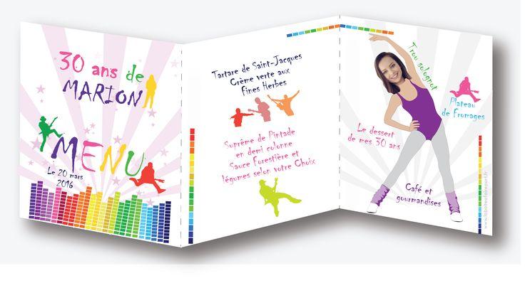 Menu anniversaire femme, thème : POP. Vous aimez la gym et danser cette invitation est pour vous !! Plus d'informations en cliquant sur le lien suivant https://www.laboiteafairepart.fr/menu-anniversaire-femme-pop/ #menuanniversairefemme #invitationfemme #anniversairefemme #invitationanniversaire #20ans #30ans #40ans #50ans #60ans  Le 13/02/17
