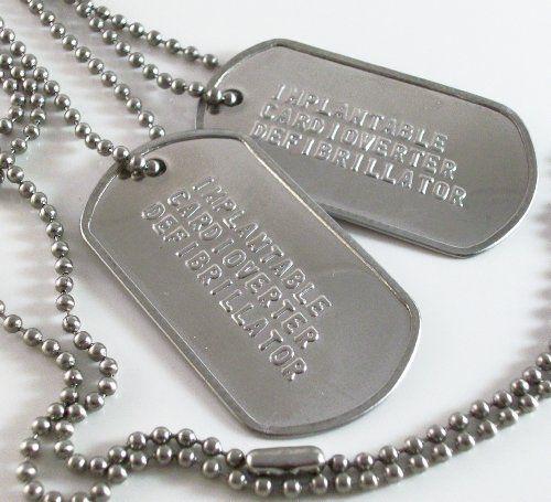Implantable Cardioverter Defibrillator ICD Medical ID Alert Military Dog Tags