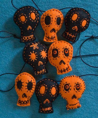 Black and Orange Skull Garland (detail)