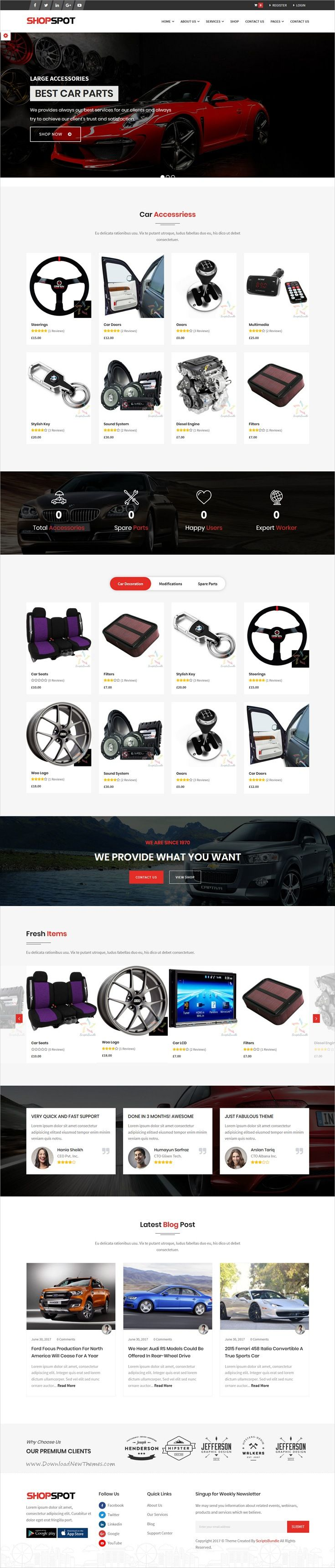 Carspot car services inventory classified dealership wp theme