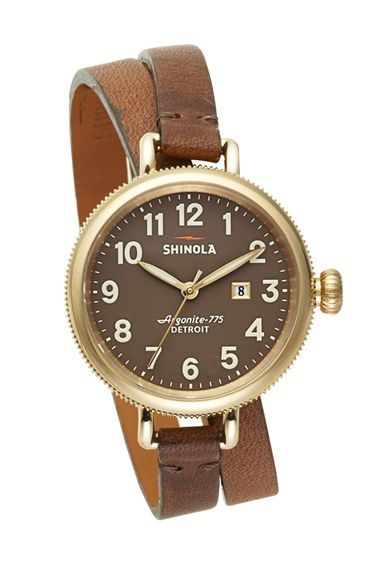Shinola 'The Birdy' Double Wrap Leather Strap Watch, 34mm available at #Nordstrom