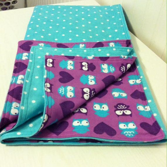 Items Similar To Premium Reversible Flannel Blanket Purple Owl Print On Etsy