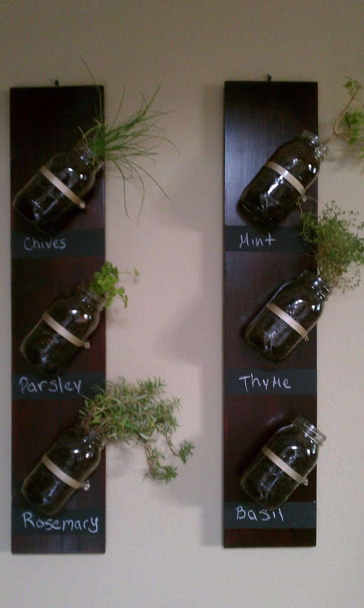 Vertical Mason Jar Herb Garden. Etsy.
