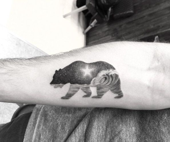 California bear tattoo by Doctor Woo