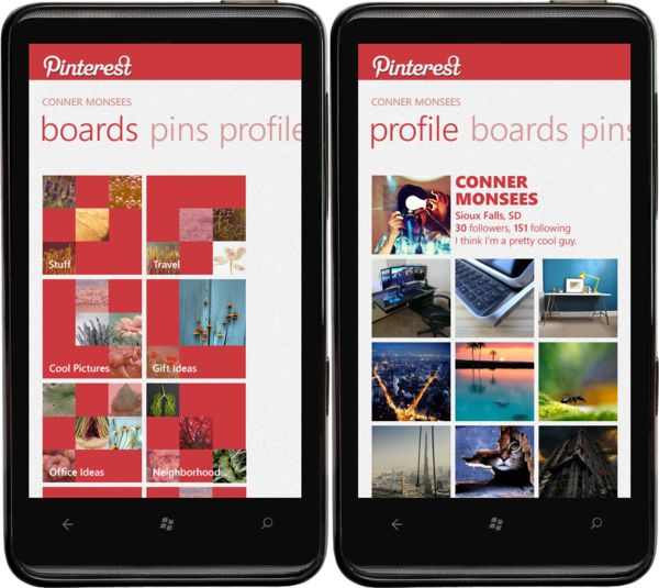 Pinterest for Windows Phone by Conner Monsees, via Behance