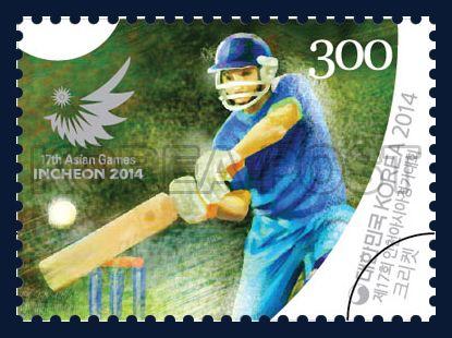The 17th Asian Games Incheon 2014, cricket, Sports, grass green, Blue, 2014 07 31, 제17회 인천아시아경기대회 기념우표, 2014년 7월 31일, 2997, 크리켓, postage 우표