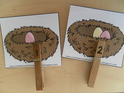 Eggs in nest counting! I like it. Simple to do, clothspins, and laminating.
