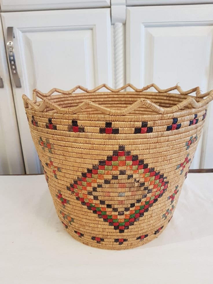 Hand Woven Coiled NATIVE INDIAN Basket w/Unique Design CHOCTAW Tribe Beautiful Detailed 20th Century by UptownRetroMod on Etsy