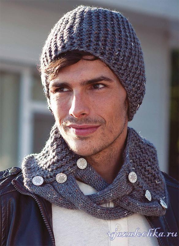 Мужская шапка и шарф, спицами