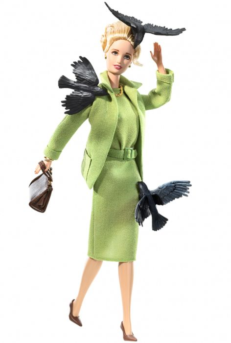 Alfred Hitchock's The Birds-themed Barbie. In 1963 Hitchcock's 'the Birds' was released, which saw the revenge of birds on humankind. to  celebrate the film's 45th anniversity, Mattel, Inc. released 'the  birds' themed Barbie doll, which is based off the 'the Birds' ill-fated heroine, Tippi Hedren, who fashioned a green skirt-suit during one of the movie's iconic scene. birds included.
