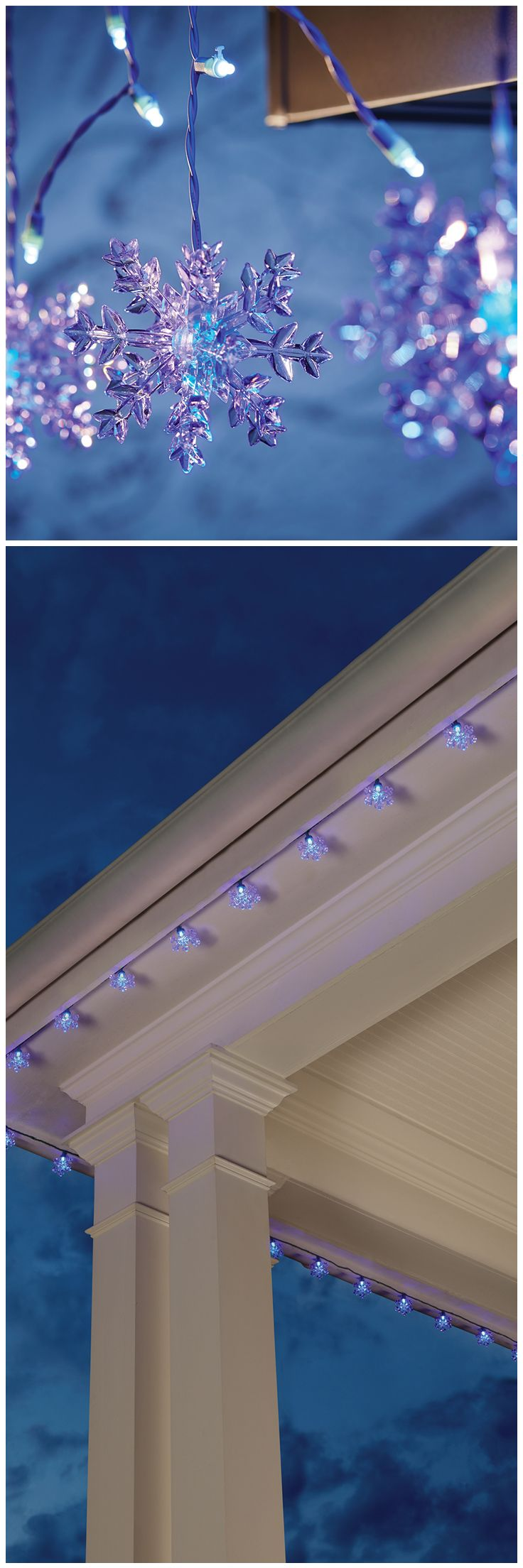 These snowflake LED Christmas lights from The Home Depot change colors, from white to purple, for a charming new holiday look. Of course, we have Christmas lights of all sorts, including icicle lights, net lights, programmable and more. Take a look at all our Christmas lights, and start planning your outdoor holiday display. See these snowflake lights here: http://www.homedepot.com/p/Home-Accents-Holiday-15-Light-LED-White-to-Blue-Color-Changing-Snowflake-Light-Set-TY1138-1415/205092322