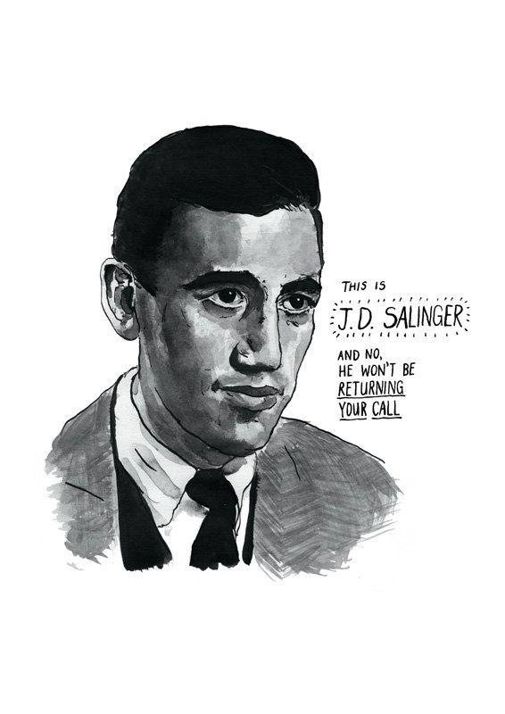 JD Salinger poster print Great American Writers by StandardDesigns, £15.00