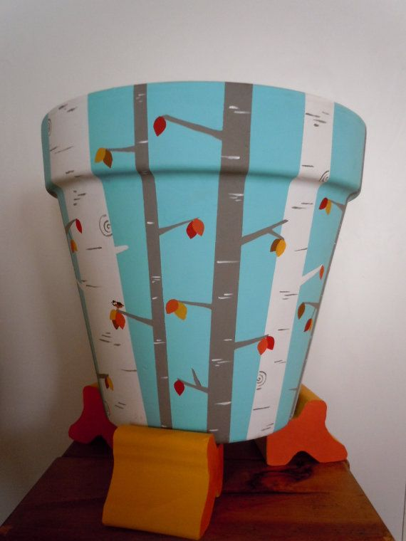 Hand Painted Flower Pot on Etsy, $85.00