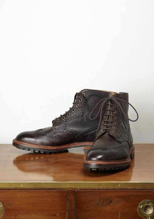 Hannover Brogue Boot, Walnut Calf Leather, Commando Sole, by Alfred Sargent - ASHAN1