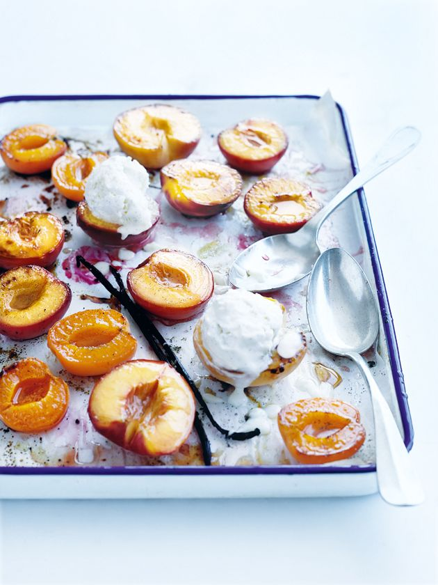 grilled summer fruit with meringue ice-cream