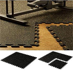 EZ-Flex   Interlocking Recycled   Rubber Floor Tiles from Costco  I want to put this in the garage area so I can have a dual purpose garage/fitness room during the winter months. With enough space for friends to join me if they wish.