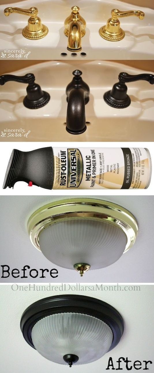 #14. Use Rust-Oleum to paint outdated brass faucets, hardware and fixtures! -- I want to do this to my kitchen cabinet hardware and maybe the light fixtures....vn