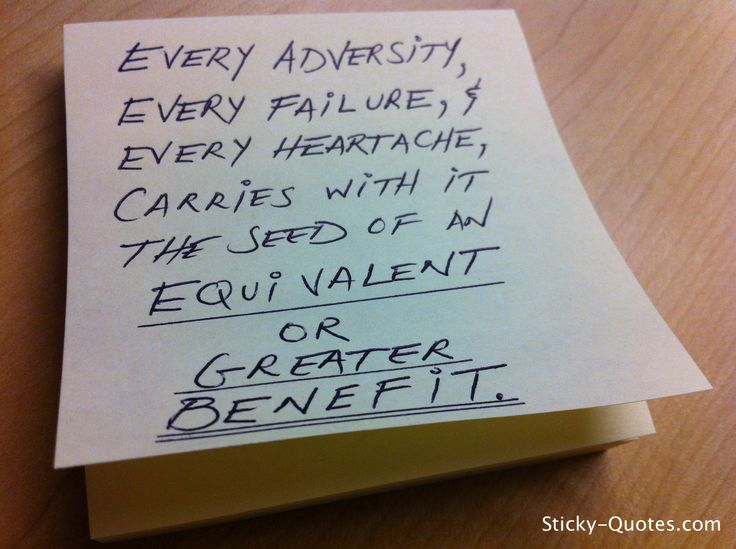 Image result for every adversity, every failure, every heartache carries with it the seed of an equal or greater value