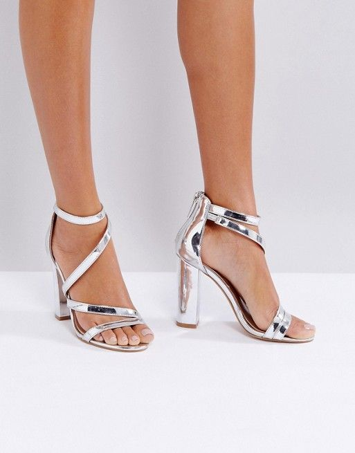 Miss KG Asymmetric Block Heeled Metallic Sandal | Metallic