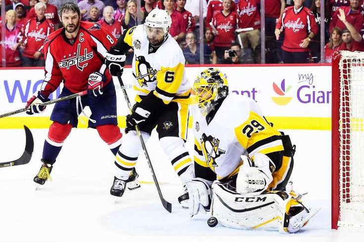 BIG SAVE:    Marc-Andre Fleury (29) of the Pittsburgh Penguins makes a save against the Washington Capitals during the third period in Game One of the Eastern Conference Second Round during the 2017 NHL Stanley Cup Playoffs at Verizon Center on April 27, in Washington, DC.