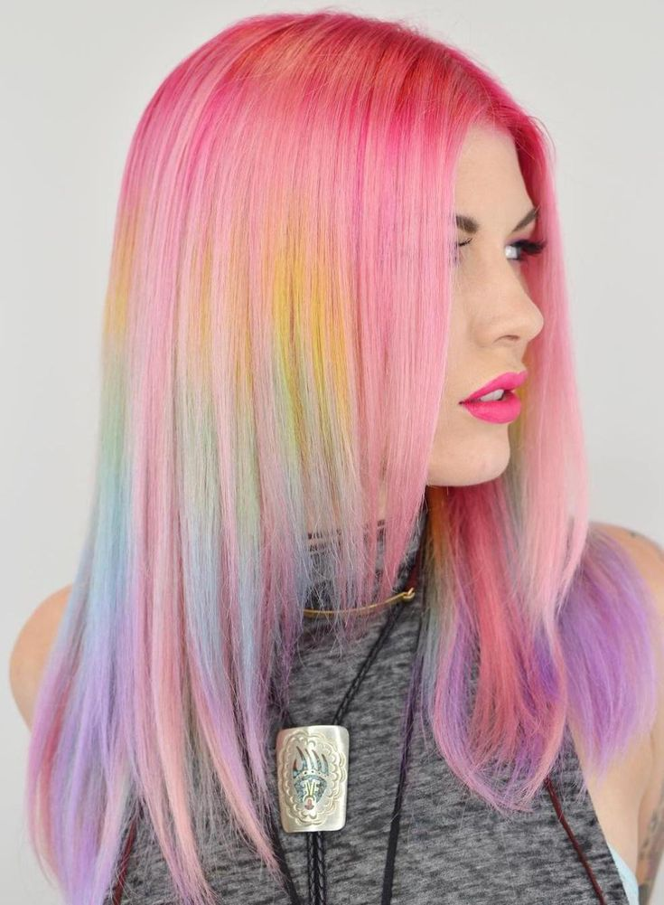 Pastel Pink Hair With Rainbow Highlights
