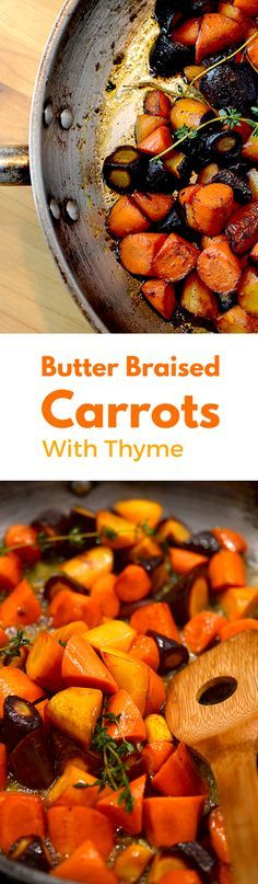If you had mushy carrots while you were growing up, it's time to change your opinion about this amazing veggie. Try the vegetarian butter braised carrots with thyme. It's healthy, low-carb and delicious! You need some good carrots, good butter, and a hot pan. Add some thyme and braise in beef stock until they are fork tender. Pair with just about any protein you could think of - except for fish and seafood. And some red wine. Enjoy this amazing low-carb side dish and be enamored!