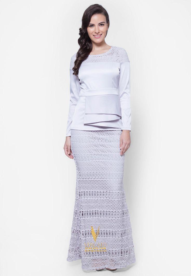 Baju Kurung Moden Lace - Vercato Selena in Grey. Buy baju kurung moden peplum lace. SHOP NOW: www.vercato.com