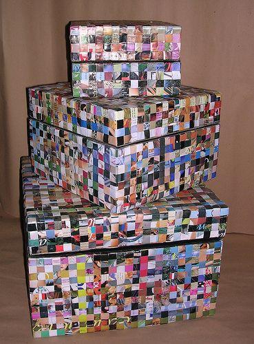 Cajas.  Trenzando papel