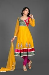 Picture of Yellow and Hot Pink Kameez with Churidar
