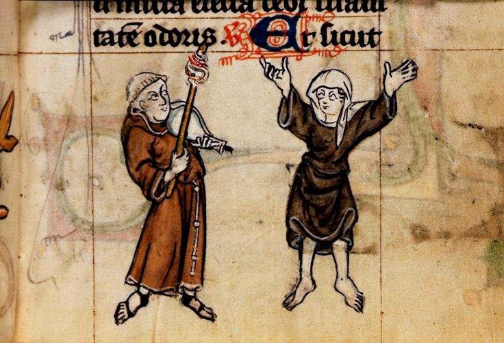 Dancing. Book of Hours, Use of Maastricht ('The Maastricht Hours')  Netherlands, S. (Liège); 1st quarter of the 14th century.