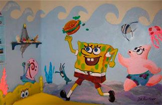 spongebob wall mural group picture image tag keywordpictures corner black sheep art miami tattoos amp fine