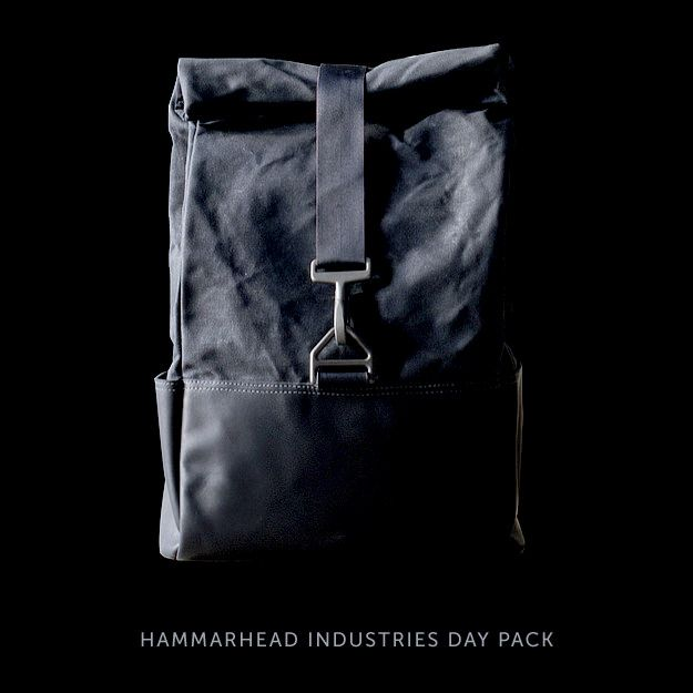 The $290 Hammarhead Industries Day Pack—one of our six selected motorcycle backpacks. Made by hand in Brooklyn from waxed cotton, leather and parachute hardware, it's designed to suit riders of classic and cafe racer motorcycles.