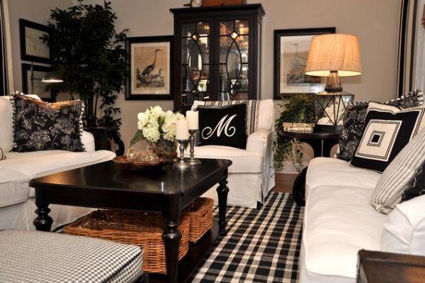 black and white living room, multiple patterns