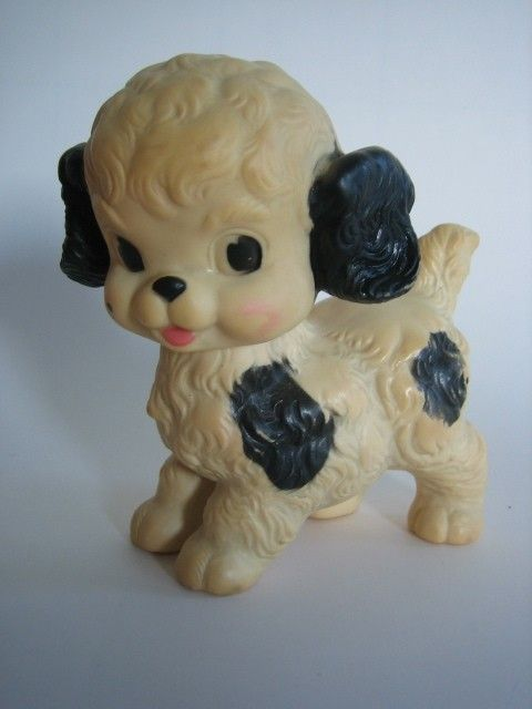 1950s Rubber black and white dog squeeze toy