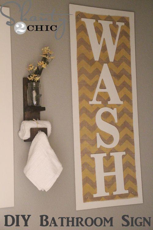 DIY Wall Art ~ Chevron and Burlap - ilike the towel holder