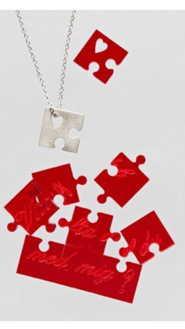 Will you marry me? In Swedish and English. Red or grey. A proposal puzzle from Lamette that is also a necklace!  www.lamette.se