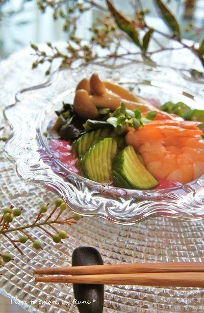 『和田倉』風の前菜☆白だし漬け海老と野菜の酢の物ゼリー寄せ