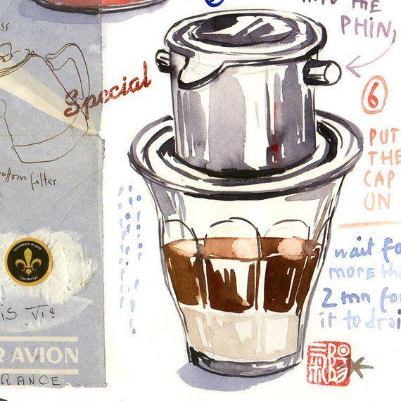 Vietnamese Coffee Recipe Print, Watercolor Painting