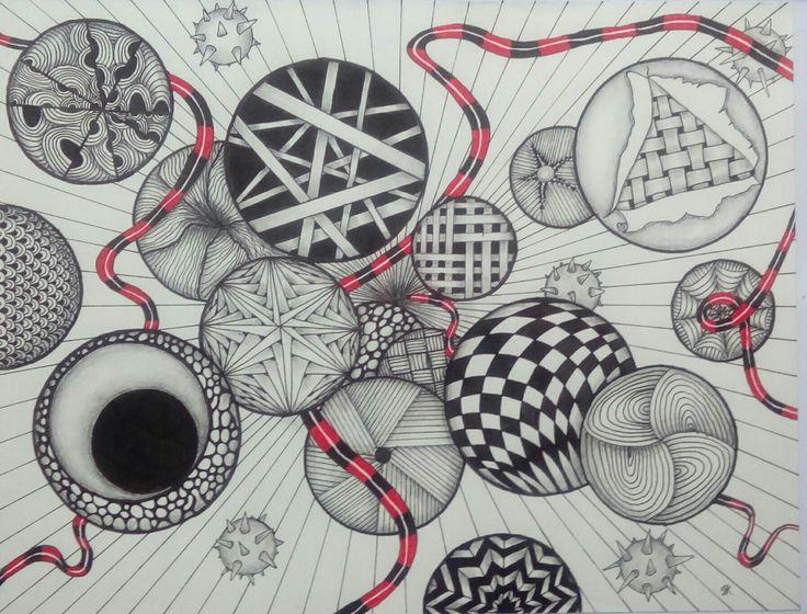 """""""Fragmenter af et sind""""  Zentangle art"""