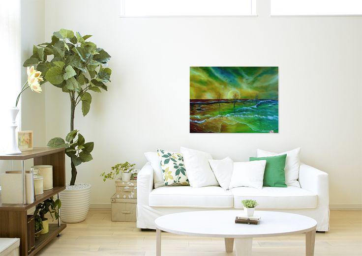 Art for office, coastal, waves, seascape, fantasy, scene, sunset, sky, landscape, trees, nature, theme, colorful, unique, impressive, painting, art, oil painting, artwork, fine art, canvas print