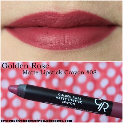 Evelyn's 50 Shades of Red: Nowości Golden Rose / Golden Rose new products: Matte Lipstick Crayon #04, #05, #08, #11 (+ porównanie z Velvet Matte - comparison with Velvet Matte)