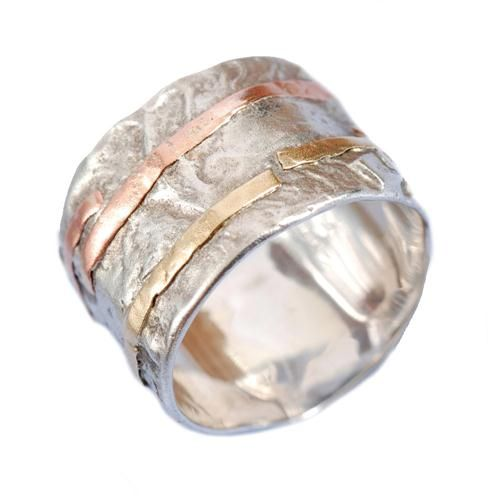 Silver and Gold Wide Hammered Ring