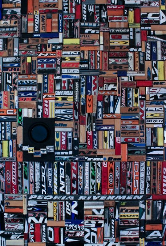 This collage piece was created using discarded and broken hockey sticks. It was created for installation in a Sports Bar / Restaurant.