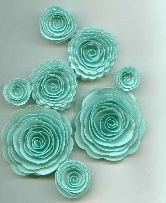 Aquamarine Turquoise Rose Handmade Spiral Paper Flowers