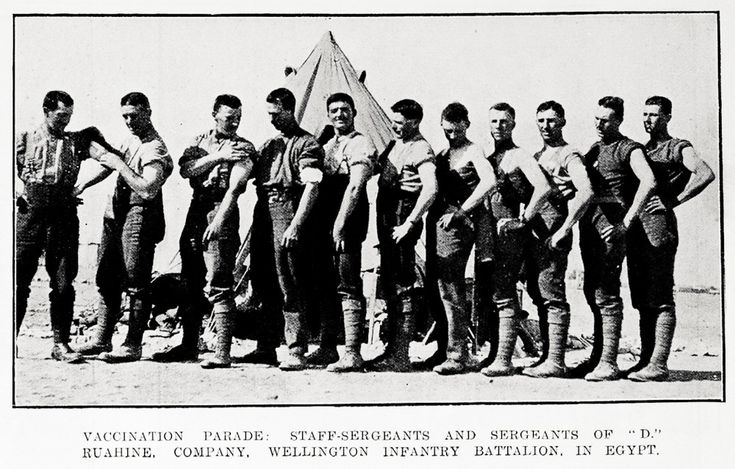 "VACCINATION PARADE: STAFF-SERGEANTS AND SERGEANTS OF ""D."" RUAHINE, COMPANY, WELLINGTON INFANTARY BATTALION, IN EGYPT."